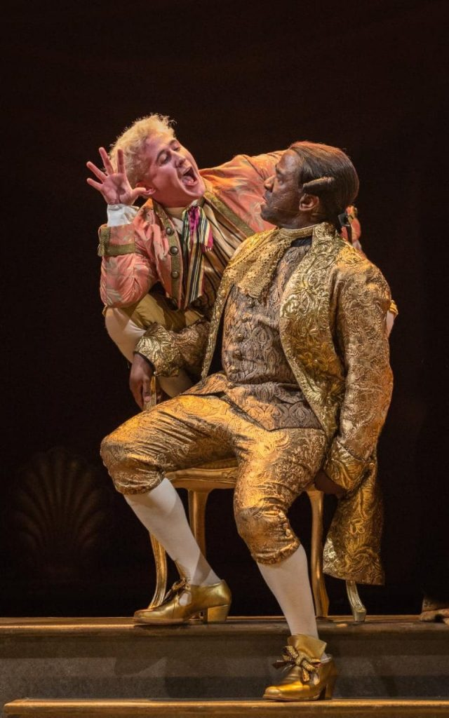 Adam Gillen & Lucian Msamati in Amadeus at National Theatre