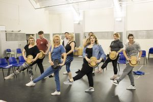 Cast of Kay Mellor's Fat Friends the Musical in rehearsal including Jodie Preener, Sam Bailey, Natasha Hamilton