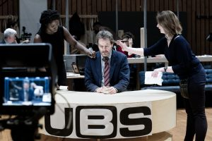 Rehearsal image from Network with Bryan Cranston at National Theatre