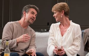 Alexander Hanson and Samantha Bond i n The Lie by Florian Zeller at The Menier Theatre