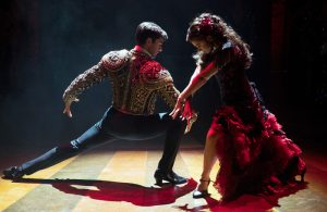 Promotional photo of Sam Lips and Gemma Sutton in Strictly Ballroom at West Yorkshire Playhouse
