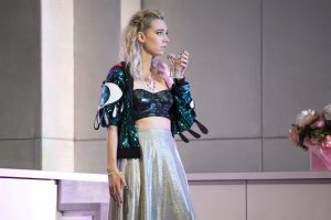 Production photo of Vanessa Kirby in Julie at the National Theatre