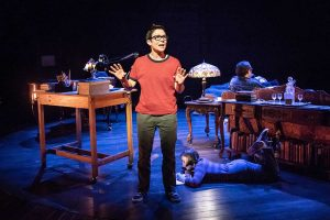 Production photo of Kaisa Hammarlund and cast in Fun Home at Young Vic