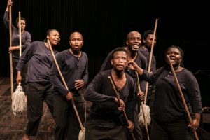 Production photo of Isango Ensemble in SS Mendi Dancing The Death Drill at Nuffield Southampton Theatres
