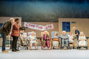 Production shot of Allelujah by Alan Bennett at Bridge Theatre