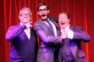 Production shot of Julian Howard McDowell, Colin Elmer and Clive Greenwood in the theatre tour of The Goon Show