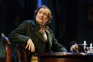 Production shot of Jim Broadbent in Martin McDonagh's A Very Very Very Dark Matter at Bridge Theatre London