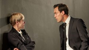 Production shot of Sian Brooke and Alex Hassell in I'm Not Running at National Theatre London
