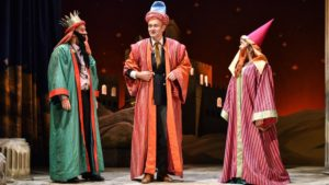 Production shot of John Marquez, Hugh Dennis & Lesley Garrett in The Messiah by Patrick Barlow