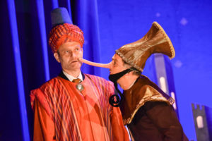 Production shot of Hugh Dennis and John Marquez in The Messiah, directed by Patrick Barlow