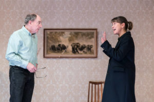 Production shot of Alun Armstrong and Nicola Walker in The Cane at Royal Court Theatre