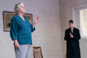 Production photo of Maggie Steed and Nicola Walker in The Cane at Royal Court Theatre