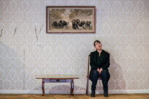 Production shot of Nicola Walker in The Cane at Royal Court