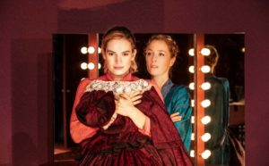 Production shot of Lily James & Gillian Anderson in All About Eve directed by ivo van Hove at Noel Coward theatre London