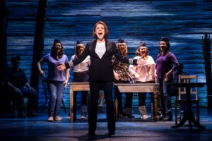 Production shot of Mary Doherty and other members of the cast in Come From Away the musical at the Phoenix Theatre in London