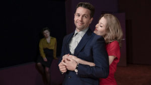 Production shot of Julian Ovenden and Gillian Anderson in All About Eve directed by Ivo Van Hove at Noel Coward Theatre London
