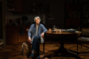 Production shot of Maggie Smith in A German Life at The Bridge Theatre