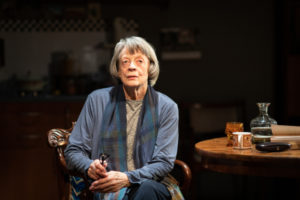 Production shot of Maggie smith in A German Life art the Bridge Theatre in London