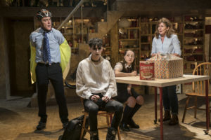 Production photo of James Nesbitt, Scott Folan, Kirsty MacLaren & Clare Burt in This Is My Family at Chichester Festival Theatre in May 2019