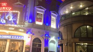 Photo of Playhouse Theatre London exterior showing close proximity to tube station