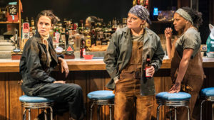 Production shot of Leanne Best, Martha Plimpton and Clare Perkins in the Donmar production of Sweat at the Gielgud Theatre