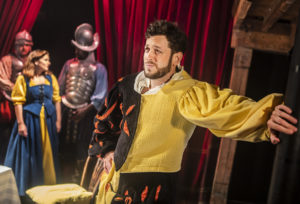 Production shot of Rebecca Trehearn & David Ricardo-Pearce in Kiss Me, Kate at The Watermill Theatre