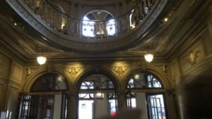Interior shot of the Gielgud Theatre in London showing the oval gallery