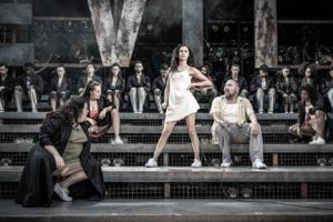 Production photo of Samantha Pauly and others in Evita by Andrew Lloyd Webber and Tim Rice at the Open Air Theatre in Regents Park London