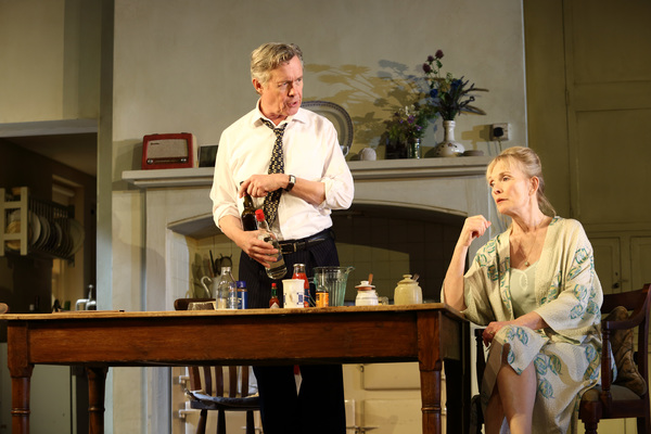 Production shot from Hansard at the National Theatre with Lindsay Duncan and Alex Jennings