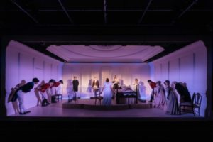 Production shot of the company in The Watsons at The Menire Chocolate Factory Theatre