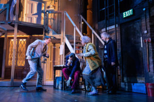 Production photo of Daniel Rigby, Richard Henders, Meera Syal & Simon Rouse in Noises Off at the Garrick Theatre 2019