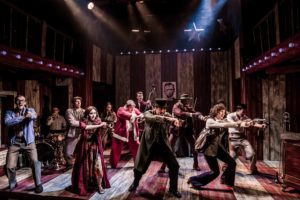 Production photo of Stephen Sondheim's Assassins at The Watermill Newbury UK