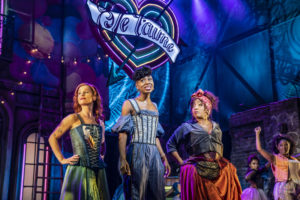 Production photo from the musical & Juliet featuring Cassidy Janson, Miriam-Teak Lee & Melanie La Barrie