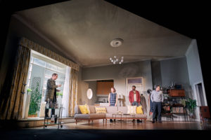 Production photo from Dial M For Murder touring production showing Christopher Harper, Sally Bretton, Michael salami & Tom Chambers