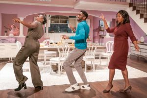 Production shot of Fairview at Young Vic featuring Naana Agyei-Ampadu, Rashan Stone & Nicola Hughes