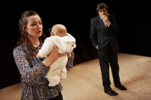 Production photo of Amy Molloy and Stephen Rea in Cypress Avenue at Royal Court Theatre in London 2019