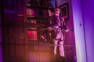 Production photo of Graeme Rose in The Time Machine at The London Library in March 2020