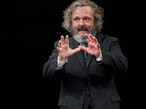 Production photo of Michael Sheen in Faith Healer at the Old Vic theatre in London