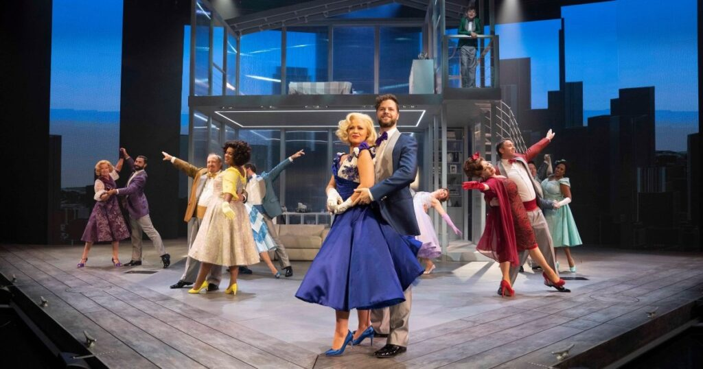 Production photo of Jay McGuiness and Kimberley Walsh in Sleepless A Musical Romance at the Troubadour Theatre in Wembley Park London