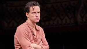 Production shot of Andrew Scott in Three Kings at the Old Vic Theatre
