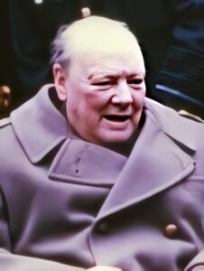 Photo of Winston Churchill at Yalta conference in 1945