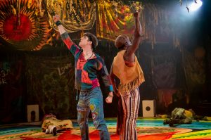 Production photo of Ryan Anderson and Ian Carlyle in Pippin at Charing Cross Theatre London