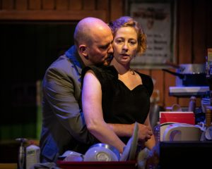 Production photo ffrom The Beauty Queen Of Leenane at The Minerva Chichester showing Orla Fitzgerald and Adam Best