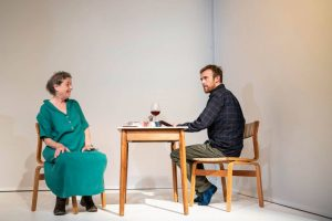 Production photo showing Linda Bassett and John Heffernan in What If If Only at the Royal Court Theatre in London